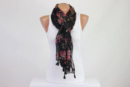 Black Floral Scarf