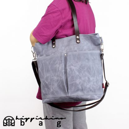 Gray waxed tote bag leather strap