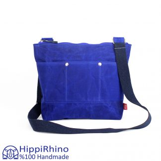 Blue Waxed Tote Bag