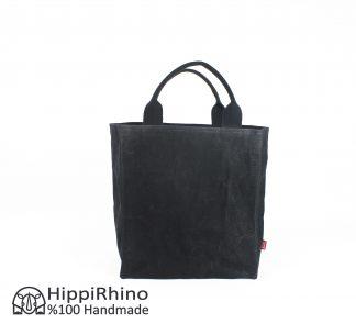 Black Waxed Grocery Market Bag