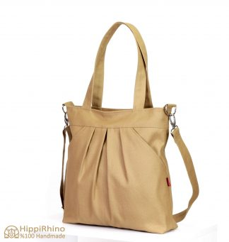 Canvas Shoulder Bag With Exterior Pocket