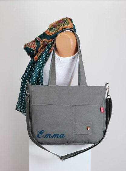 Embroidered Monogram Canvas Shoulder Bag
