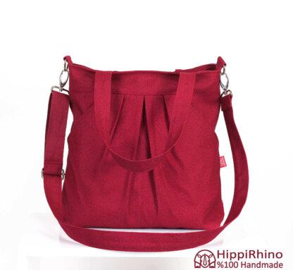 Maroon Red Shoulder Crossbody Canvas Bag
