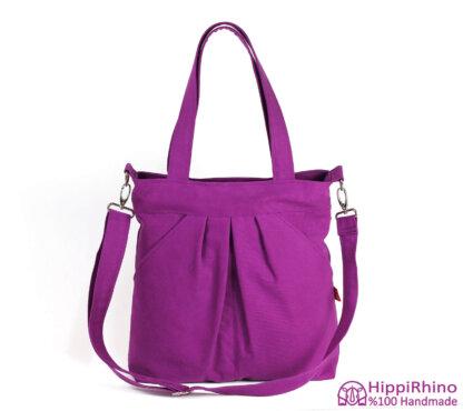 Purple Cotton Canvas Shoulder Bag