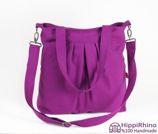 Purple Cotton Canvas Shoulder Bag