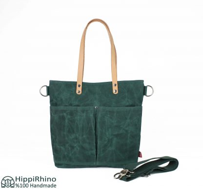 Green Waxed Tote Bag with Leather Shoulder Strap