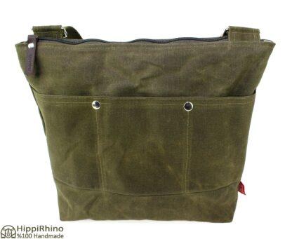 Dark Military Green Waxed Tote Bag Webbing Cotton Strap