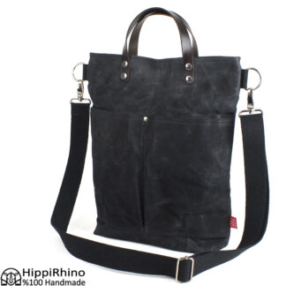 Black Waxed Large Tote Bag With Leather Handle