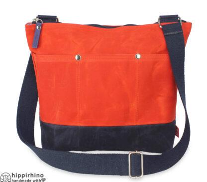 Orange Navy Blue Waxed Tote Bag