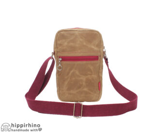 Camel Brown Waxed Small Crossbody Tote Bag