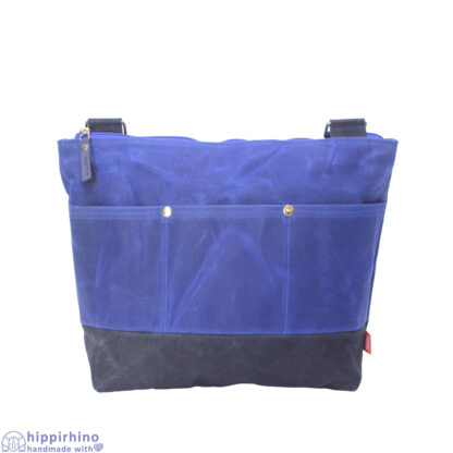 Blue Waxed Tote Bag With Pockets