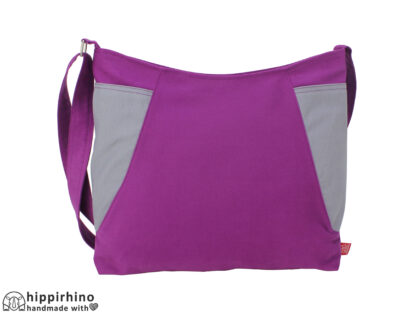Purple Light Gray Washable Two Color Canvas Hobo Bag